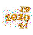 shiny golden balloons numbers 2019 2020 2021 new vector image