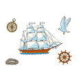 ship compass seagull rope and steering wheel vector image vector image