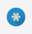 snowflake Flat Blue Simple Icon with long shadow vector image