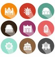 solid icons houses of worship shadow vector image vector image