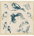 Sparrows retro collection vector image vector image