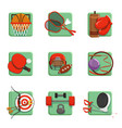 sport icons set boxing badminton gymnastics vector image