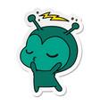 sticker cartoon of a cute kawaii alien