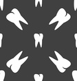 tooth icon Seamless pattern on a gray background vector image vector image
