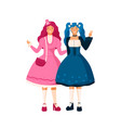 two happy cartoon girl in bright colorful japan vector image vector image
