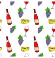 wine set grapes cheese and wine bottle hand vector image vector image
