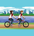 young couple riding a tandem bike vector image vector image