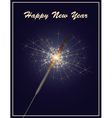 happy new year greeting card with sparkler on dark vector image