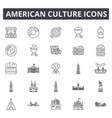 american culture line icons signs set vector image vector image
