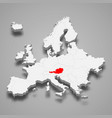 austria country location within europe 3d map vector image vector image