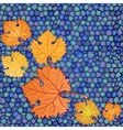Autumn card with mosaic blue backdrop and red