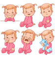 baby girl emotions set vector image vector image