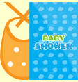 baby shower card with a bib vector image vector image