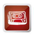 Button of cassette tape with background red and