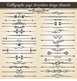 Calligraphic vintage page decoration design vector image