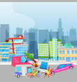 car accident and crash on road in city vector image