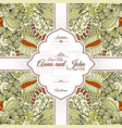 card with beige floral doodle pattern vector image vector image