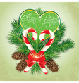 Card with candys in heart shape and fir-tree branc vector image