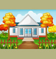 Cartoon house in autumn season with green yard and