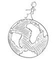 cartoon of traveler walking on earth globe vector image
