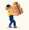 cartoon porter carrying cartons colorful poster vector image