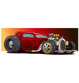cartoon retro vintage red hot rod sport racing car vector image vector image