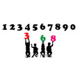 children silhouettes learn numbers vector image vector image