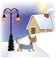 Christmas card with happy dressed dog vector image vector image