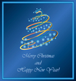 Christmas tree of snowflakes and lights vector image