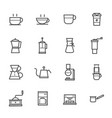 coffee and coffee maker icon outline stroke vector image vector image