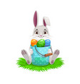 easter bunny or rabbit with egg hunt bucket vector image