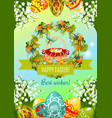 easter poster with egg hunt basket and flowers vector image vector image