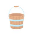 flat icon of empty wooden bucket for garden vector image vector image
