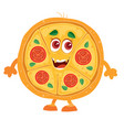funny pizza character on a white background vector image vector image