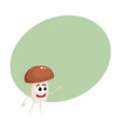 funny porcini mushroom character with human face vector image vector image
