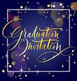 graduation invitation hand lettering vector image
