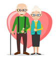 grandparents stand under the handle on the vector image vector image