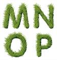Green Grass Alphabet M N O P vector image