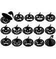 halloween pumpkins silhouette vector image vector image