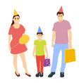happy family with baby celebrates birthday in caps vector image