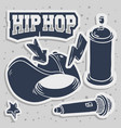 hip hop stickers design with baseball hat snapback vector image vector image