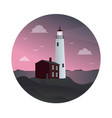 lighthouse with house at sunset vector image