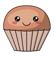 Muffin with kawaii face design vector image vector image