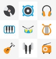 music flat icons set collection of dj sonata vector image