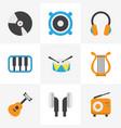 music flat icons set collection of dj sonata vector image vector image