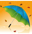 rain and autumn leaves vector image vector image