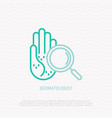 rash on the palm under magnifier thin line icon vector image vector image