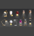 realistic lamp home floor and desk 3d light vector image vector image
