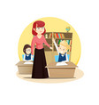 red-haired teacher leads a class in the classroom vector image