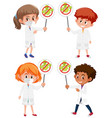 set different doctors holding stop coronavirus vector image vector image